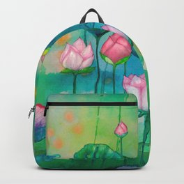 Green water lilies and pink lotus flowers Backpack