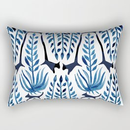 Cats & Palms Blue Rectangular Pillow