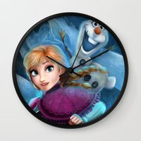 olaf Wall Clocks featuring Anna & Olaf  by This Is Niniel Illustrator