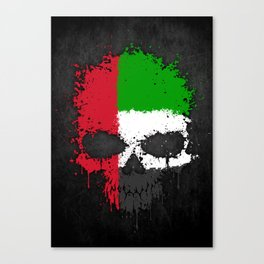 Flag of United Arab Emirates on a Chaotic Splatter Skull Canvas Print