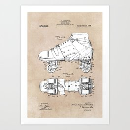 patent art Plimpton Roller Skate 1907 Art Print