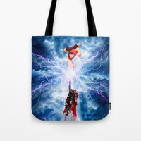wreck it ralph Tote Bags featuring THOR vs RALPH by Raisya