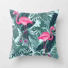 tropical pink flamingo Throw Pillow