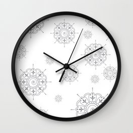 Grey & White Mandala Wall Clock