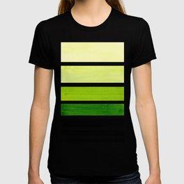 Sap Green Minimalist Mid Century Staggered Stripes Rothko Color Block Geometric Art T-shirt