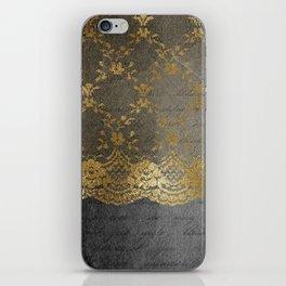 Pure elegance I- gold glitter luxury lace on black grunge background iPhone Skin