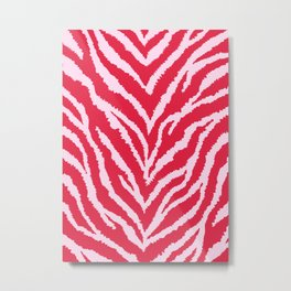 Red zebra fur texture Metal Print