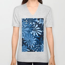 In The Tropics SKY BLUE - navy blue - and mid blue in a graphic display of color Unisex V-Neck