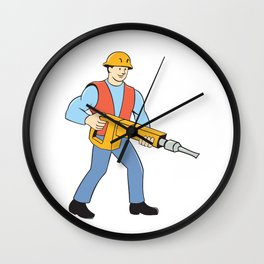 Construction Worker Holding Jackhammer Cartoon Wall Clock