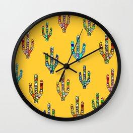 Mosaic Cacti on Yellow Wall Clock