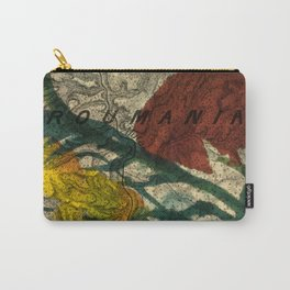 Vintage Made Modern: Transylvania Roumania Map Collaged with Flowers Carry-All Pouch
