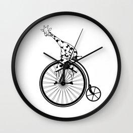 Giraffe Riding A Penny-Farthing Bicycle Wall Clock