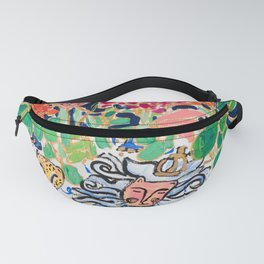 Lion, Cheetah and Tiger Still Life - Wildflowers in Wild Cat Vase After Matisse Fanny Pack