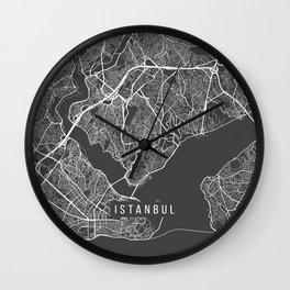 Istanbul Map, Turkey - Gray Wall Clock