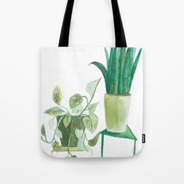 watercolor potted plants // macrame bohemian green house plant garden terrarium Tote Bag