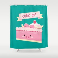 pie Shower Curtains featuring Cute pie by Alice Wieckowska