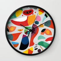 kitchen Wall Clocks featuring Still life from god's kitchen by Picomodi