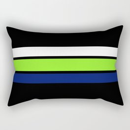 Team colors....Neon green .navy and white on black Rectangular Pillow