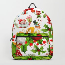 Holiday festive red green holly Christmas pattern Backpack