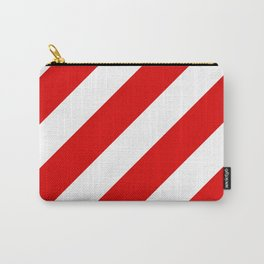 Stripes Diagonal Red & White Carry-All Pouch