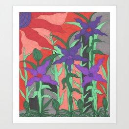 Twilight Sun Garden Floral Art Art Print