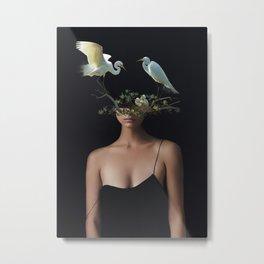 Lady with Birds 3 Metal Print