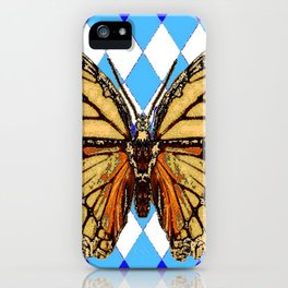 ABSTRACTED  BROWN SPICE  MONARCHS BUTTERFLY  &   BLUE-WHITE HARLEQUIN PATTERN iPhone Case