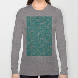 Luxury Aqua Teal and Gold oriental quatrefoil pattern Long Sleeve T-shirt