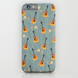 Guitars and Cowboy Hats Pattern iPhone Case