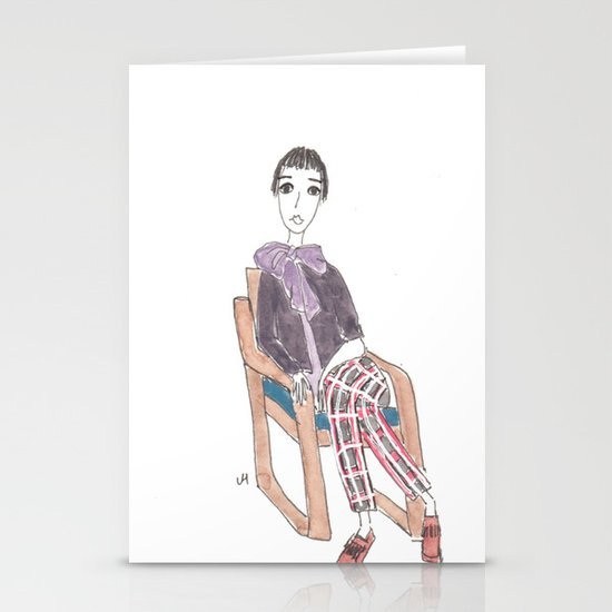 girl in a chair Stationery Cards