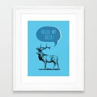 pun Framed Art Prints featuring Deer Pun by Zeke Tucker
