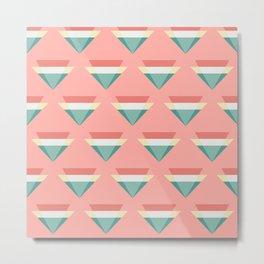 Eighties Pastel Retro Triangles Pink and Teal Geometric Pattern Metal Print