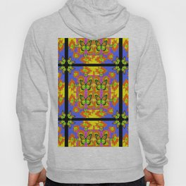 BLACK BARS MONARCH BUTTERFLIES BLUE=YELLOW DECORATIVE ART Hoody