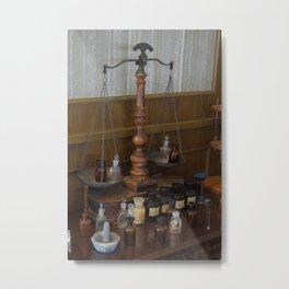 Antique Perfume Apothecary Jars Metal Print