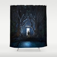 gondor Shower Curtains featuring Doors Of Tardis by alifart