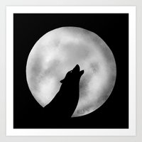 Howling at the moon -wolf silhouette Art Print