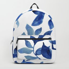 Indigo Leaves Watercolour painting Backpack