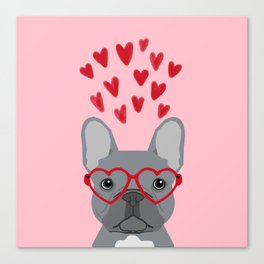 French Bulldog love valentines day heart glasses frenchie gifts Canvas Print