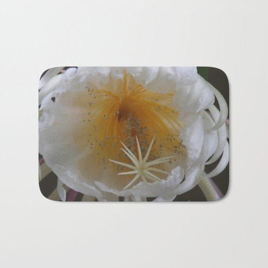 Surprise on the balcony - Queen of the Night (Epiphyllum Oxypetalum) Bath Mat