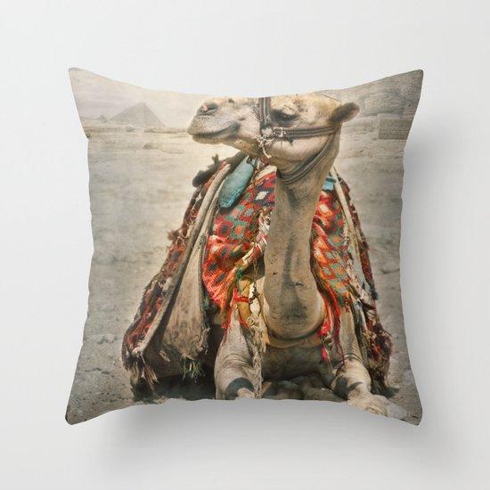 Camel at Giza Throw Pillow