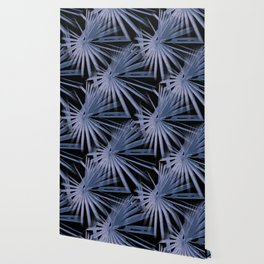 Blue on Black Tropical Vibes Beach Palmtree Vector Wallpaper