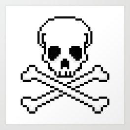 Pixel Skull And Crossbones. Art Print