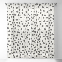 Black Decorative Dots on White, Minimalist line drawing, Modern art print with dots. Sheer Curtain