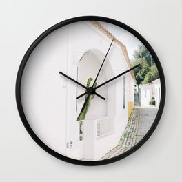White house with cactus in a little old street in Algarve Portugal | Bright photography photo print Wall Clock