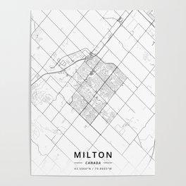 Milton, Canada - Light Map Poster