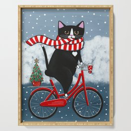 Winter Tuxedo Cat Bicycle Ride Serving Tray