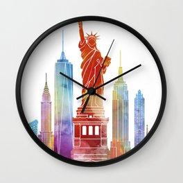 New York landmarks watercolor poster Wall Clock