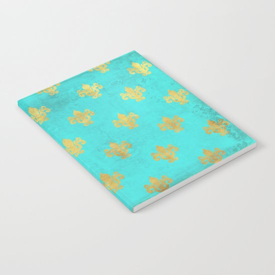 Queenlike on aqua I  Gold Heraldy elements on turquoise backround Notebook