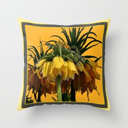 GOLDEN YELLOW CROWN IMPERIAL  FLOWERS Throw Pillow