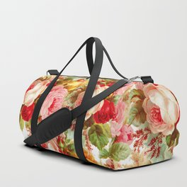 Boho chic pink yellow red roses floral vintage painting Duffle Bag